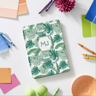 Tropical  palms Print Monogrammed ipad cover