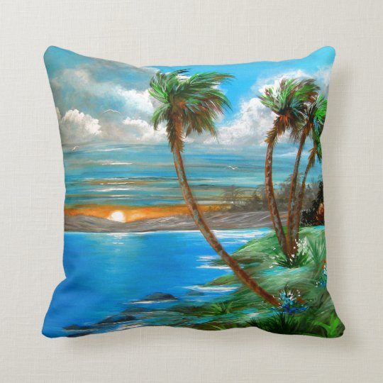 Tropical Palms Throw Pillow