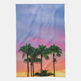 Tropical Palms with a Rainbow Sky Kitchen Towel