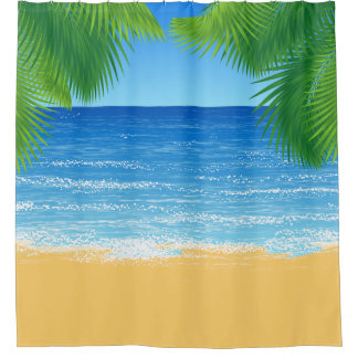 Tropical Paradise Beach and Palm Fronds
