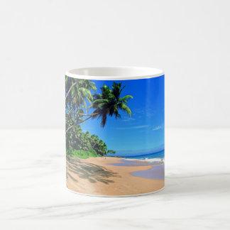 Tropical paradise beach and palmtrees mug