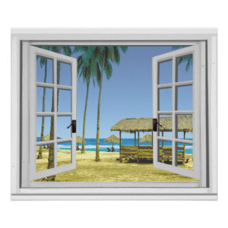 Tropical Paradise Beach Ocean View Fake Window Poster