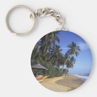 Tropical Paradise Beach Scene Keychain