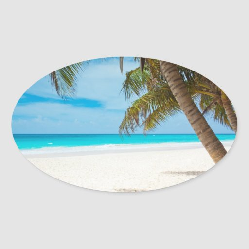 Tropical Paradise Beach Oval Sticker