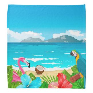 Tropical paradise beach with flamingo and parrot bandana
