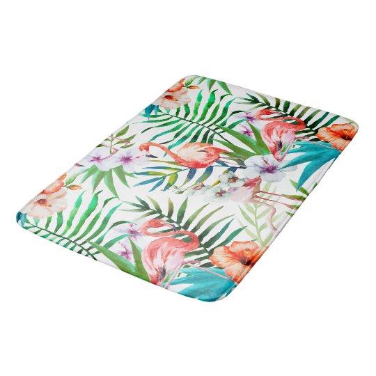 Tropical Paradise Flamingo Flowers Leaves Bathroom Mat