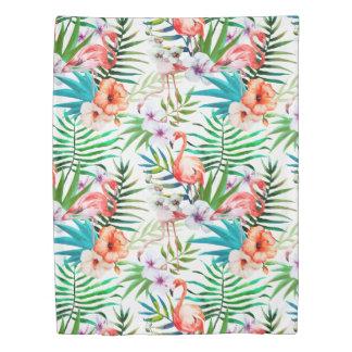 Tropical Paradise Flamingo Flowers Leaves Duvet Cover