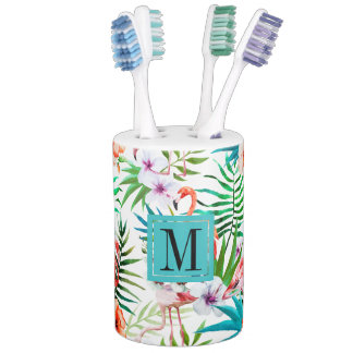 Tropical Paradise Flamingo Flowers Leaves Monogram Soap Dispenser And Toothbrush Holder
