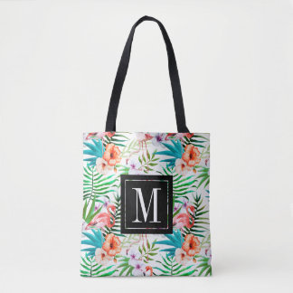 Tropical Paradise Flamingo Flowers Leaves Monogram Tote Bag