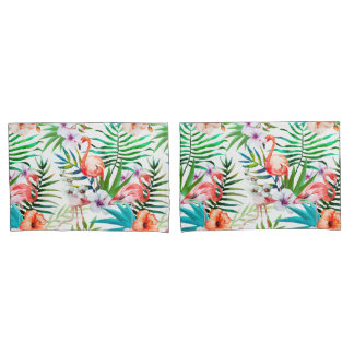 Tropical Paradise Flamingo Flowers Leaves Pillowcase