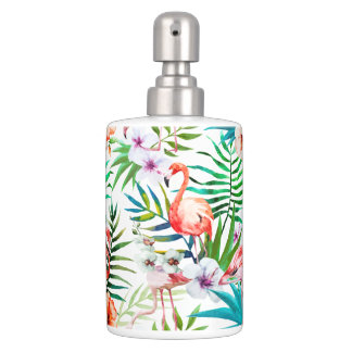 Tropical Paradise Flamingo Flowers Leaves Soap Dispenser And Toothbrush Holder