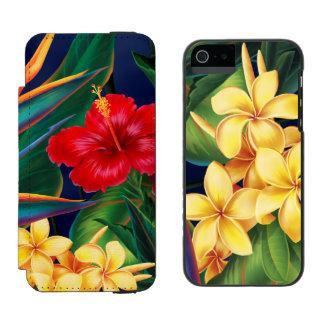 Tropical Paradise Hawaiian Floral and Plumeria Duo Incipio Watson™ iPhone 5 Wallet Case