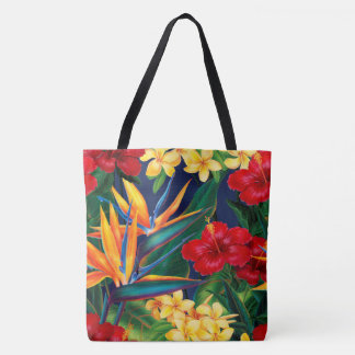 Tropical Paradise Hawaiian Floral Beach Bag