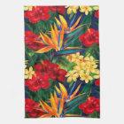 Tropical Paradise Hawaiian Floral Vertical Kitchen Towel