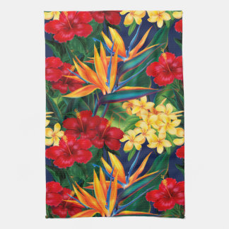 Tropical Paradise Hawaiian Floral Vertical Kitchen Towel