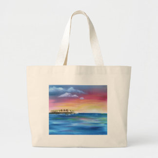 tropical paradise island large tote bag