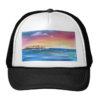 tropical paradise island trucker hat