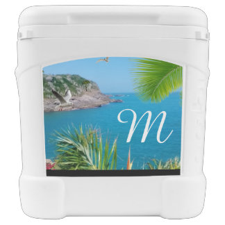 Tropical Paradise Ocean Island Monogram Cooler