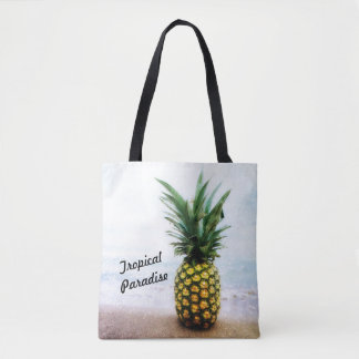 Tropical Paradise Pineapple Design Tote Bag