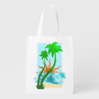 TROPICAL PARADISE REUSABLE GROCERY BAG