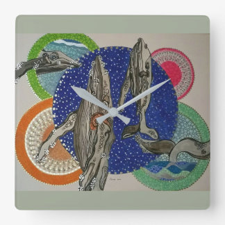 Tropical paradise square wall clock