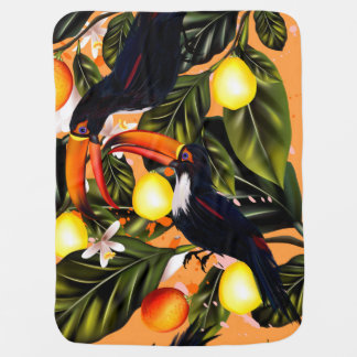 Tropical paradise. Toucans and citrus Baby Blanket