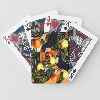 Tropical paradise. Toucans and citrus Bicycle Playing Cards