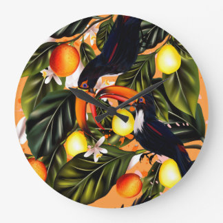 Tropical paradise. Toucans and citrus Large Clock
