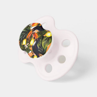 Tropical paradise. Toucans and citrus Pacifier