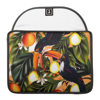 Tropical paradise. Toucans and citrus Sleeve For MacBook Pro