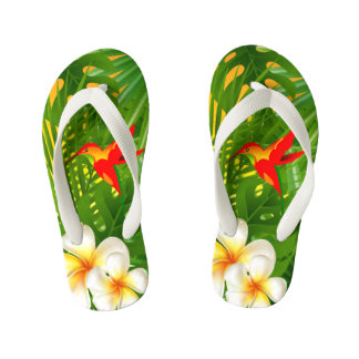Tropical Paradise with a Hummingbird Kid's Flip Flops