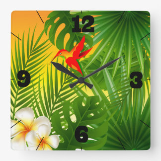 Tropical Paradise with a Hummingbird Square Wall Clock