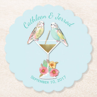 Tropical Parakeets Wedding Favor Paper Coasters
