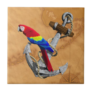 Tropical Parrot And Anchor Ceramic Tiles