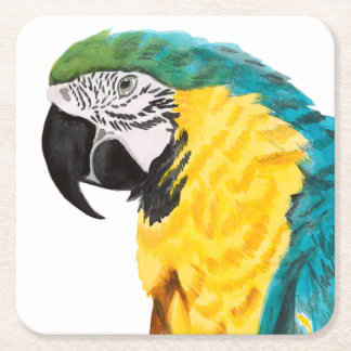 Tropical Parrot Bird Square Paper Coaster