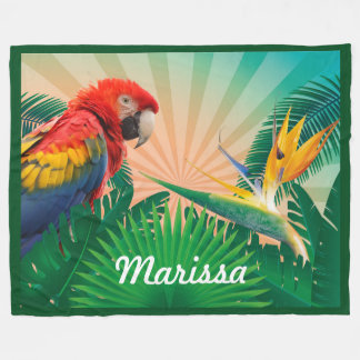 Tropical Parrot WIth Personalized Name or Quote Fleece Blanket