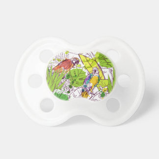 Tropical Parrots Baby Pacifier