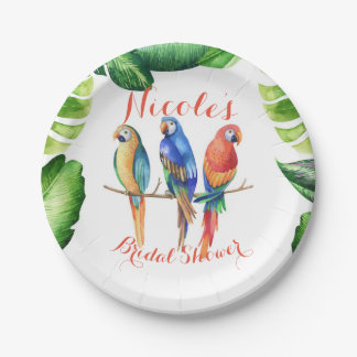 Tropical Parrots Birds & Leaves Birthday Party Paper Plate