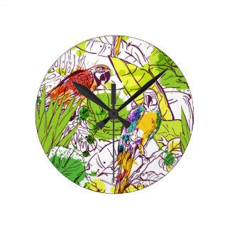 Tropical Parrots Wall Clocks