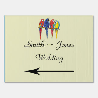 Tropical Parrots Wedding Direction Sign