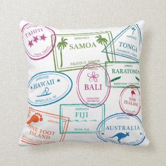 "Tropical Passport Stamps 20 x 20"" Pillow"