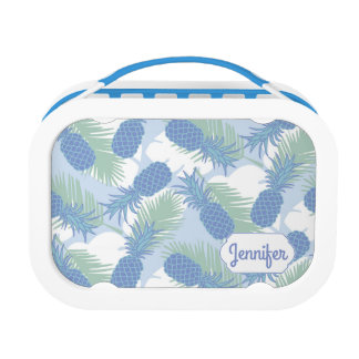 Tropical Pastel Pineapple Pattern | Add Your Name Lunch Box