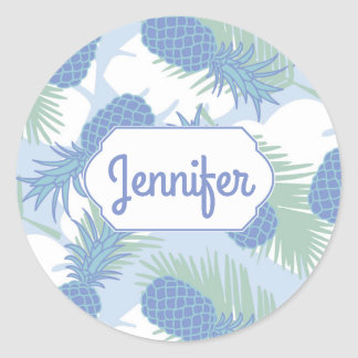 Tropical Pastel Pineapple Pattern | Add Your Name Round Sticker