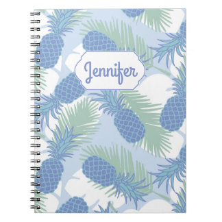 Tropical Pastel Pineapple Pattern | Add Your Name Spiral Note Books