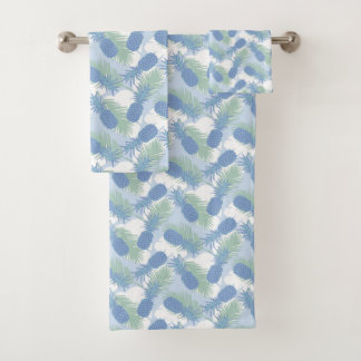 Tropical Pastel Pineapple Pattern Bath Towel Set