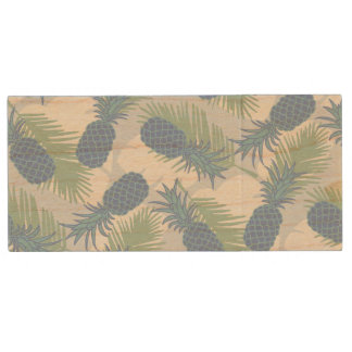 Tropical Pastel Pineapple Pattern Wood USB 2.0 Flash Drive