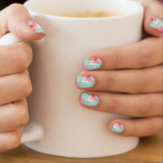 Tropical Pastel Pink and Aqua Hibiscus Minx Nail Art