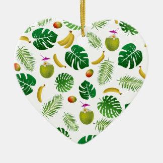 Tropical pattern ceramic heart ornament