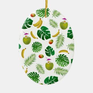 Tropical pattern ceramic oval ornament