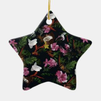 Tropical pattern ceramic star ornament